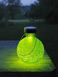 Solar Crackle Glass Goblet Lantern Fern Green Set of 2
