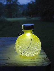 Solar Crackle Glass Goblet Lantern Yellow Set of 2