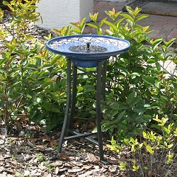 Mosaic Ceramic Glazed Solar-Powered Birdbath with Stand