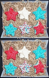 Bird Seed Star Red, White & Blue Ornaments Set of 12