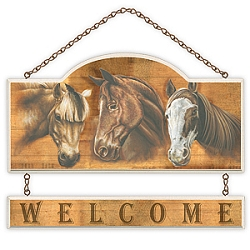 Three Horses Welcome Wall Plaque