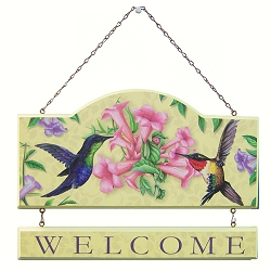 Sweet Nectar Hummingbirds Welcome Wall Plaque