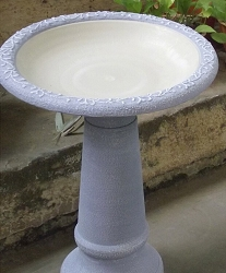 Tierra Garden Serenity Blue Fiber Clay Bird Bath with Pedestal Base