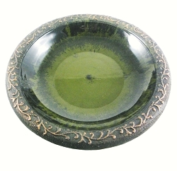 Tierra Garden Light Green Gloss Bird Bath Bowl with Matte Rim