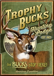 Trophy Bucks Hunting Lodge Large Tin Sign