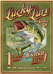 Lucky Lure Bait & Tackle Co. Large Tin Sign