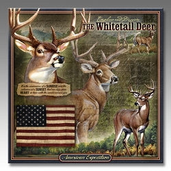 Whitetail Deer Wildlife Series 3-D Embossed Tin Sign