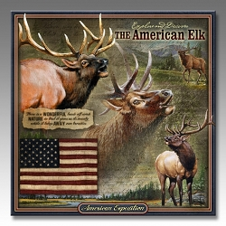 Elk Wildlife Series 3-D Embossed Tin Sign
