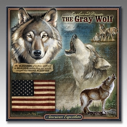 Gray Wolf Wildlife Series 3-D Embossed Tin Sign