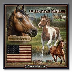 Mustang Wildlife Series 3-D Embossed Tin Sign