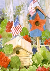 Star Spangled Birdhouse House Flag