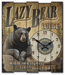 Lazy Bear Lodge Wooden Cabin Sign Clock