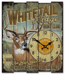 Whitetail Ridge Hunt Club Wooden Cabin Sign Clock
