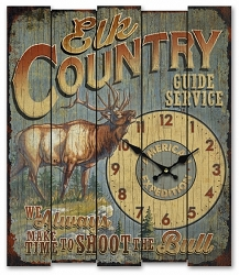 Elk Country Guide Service Wooden Cabin Sign Clock