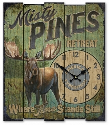 Misty Times Retreat Wooden Cabin Sign Clock