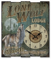 Lone Wolf Lodge Wooden Cabin Sign Clock