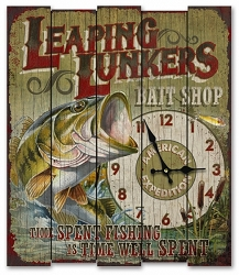 Leaping Lunkers Bait Shop Wooden Cabin Sign Clock