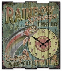 Rainbow Springs Fishing Lodge Wooden Cabin Sign Clock