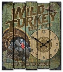 Wild Turkey Hunt Club Wooden Cabin Sign Clock