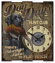 Dog Days Fetch Club Wooden Cabin Sign Clock
