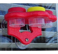 Triple Nectar Dots Window Hummingbird Feeder Red/Yellow