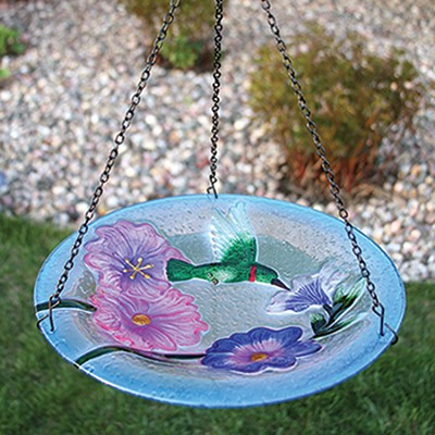 Hummingbird Embossed Hanging Glass Birdbath