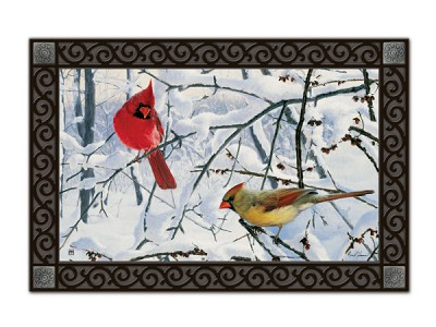 Winter Morning Cardinals MatMate Doormat