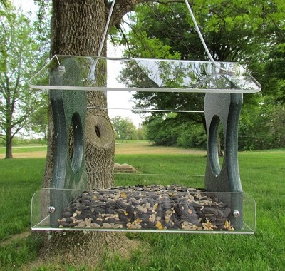 Recycled Poly Hanging Bird Feeder Green