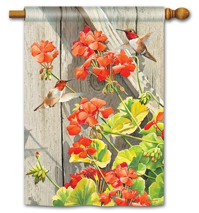 Hummingbirds with Geraniums House Flag