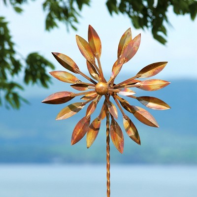 "Flamed Copper 24"" Double Petal Spinner with Twisted Stake"