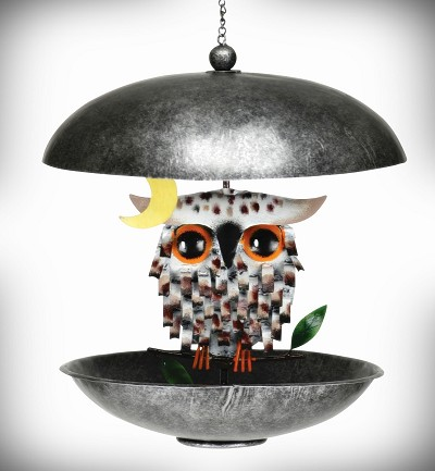 Snowy Spiky Owl Bistro Bird Feeder