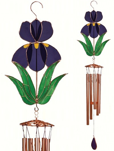Iris Stained Glass Windchime Large 40""
