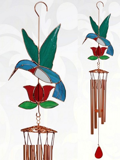 Hummingbird with Red Flower Stained Glass Windchime Large 40""