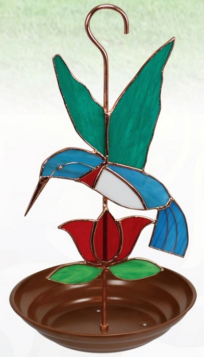 Hummingbird with Red Flower Stained Glass Bird Feeder