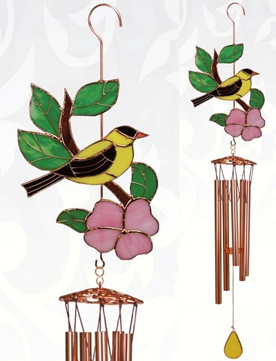 Goldfinch Stained Glass Windchime Large 40""