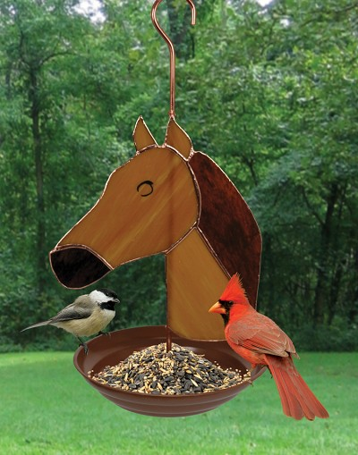 Horse Stained Glass Bird Feeder
