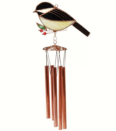 Chickadee Stained Glass Windchime Small 20""