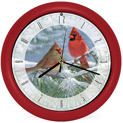 Winter Light Cardinal Sound Clock 8""