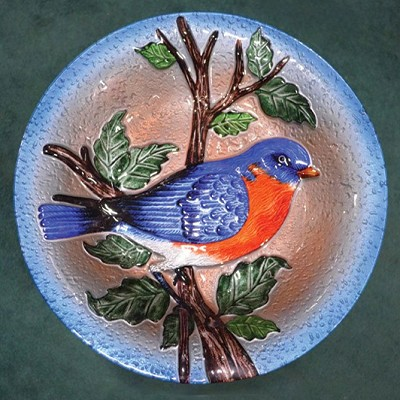 Bluebird Embossed Glass Birdbath Bowl
