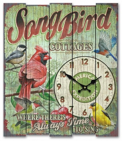 Song Bird Cottages Wooden Cabin Sign Clock