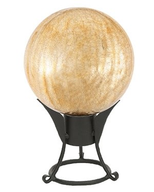 Crackle Glass Gazing Globes Apricot Ice 12""