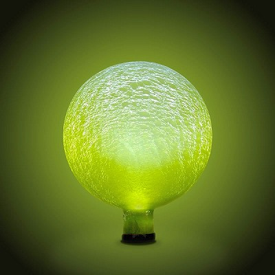 "Solar Celestial Crackle Glass Orb 10"" Globe Lemon Drop"