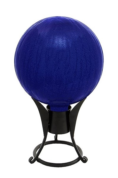 Crackle Glass Gazing Globes Blue 6""