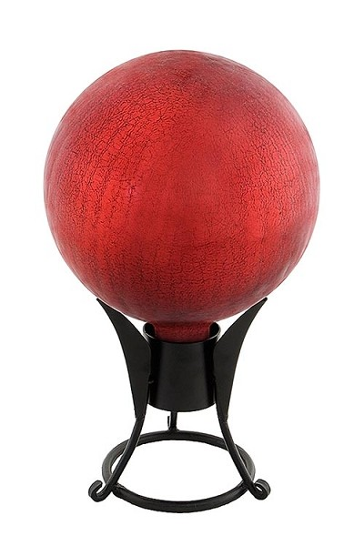 Crackle Glass Gazing Globes Red 12""