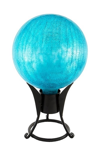 Crackle Glass Gazing Globes Teal 6""