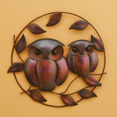 Flamed Copper Owl Duo Wall Hanging 18""