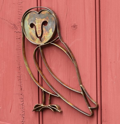Flamed Copper Barn Owl Wall Mount