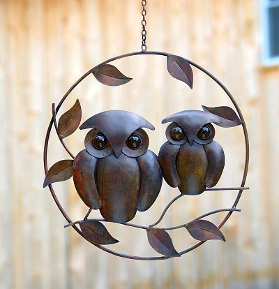Flamed Copper Owl Duo Hanging Ornament