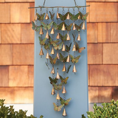 Shimmering Bells Verdigris/Copper Butterflies Wall Hanging