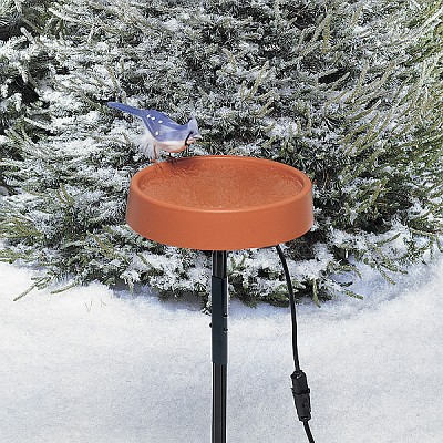 "Heated 12"" Bird Bath with Metal Stand"